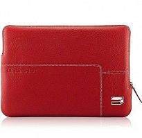 Urbano Leather Zip Folder Black for Macbook 17 Red